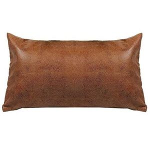 Decorative Lumbar Pillow Cover Faux Leather